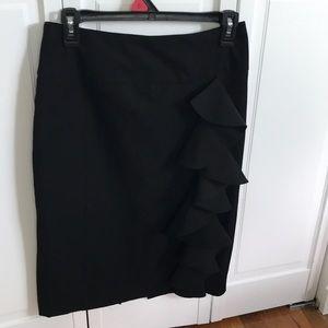 Side ruffle pencil skirt
